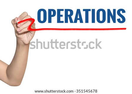 Operations word write on white background by woman hand holding highlighter pen - stock photo
