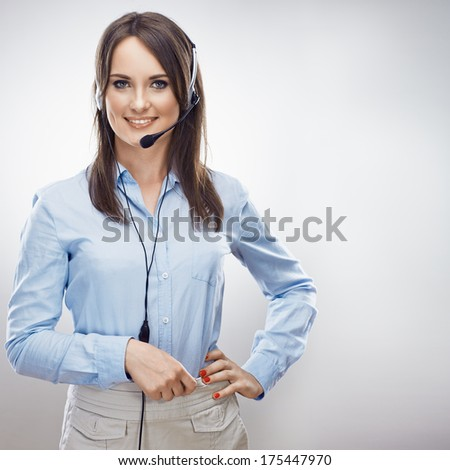 Operator call center. Customer service smiling  woman. Isolated. - stock photo