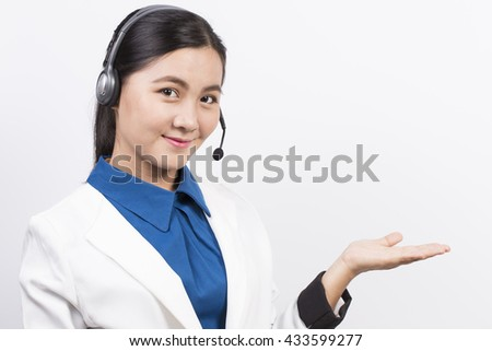 Operator or businesswoman in headset feel so good