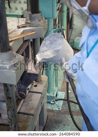 operator pouring molten aluminum in mold of automotive parts  - stock photo