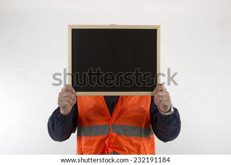 operator showing slate head - stock photo