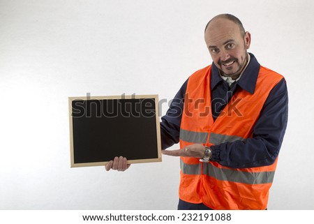 operator showing whiteboard - stock photo