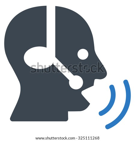 Operator Signal illustration icon. Style is bicolor flat symbol, smooth blue colors, rounded angles, white background.