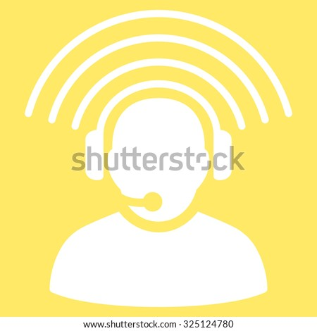 Operator Signal illustration icon. Style is flat symbol, white color, rounded angles, yellow background.
