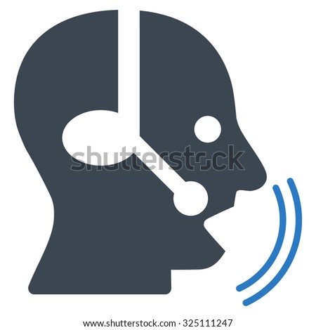 Operator Speech illustration icon. Style is bicolor flat symbol, smooth blue colors, rounded angles, white background.