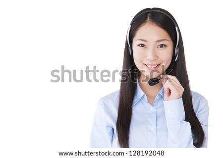 Operator wearing a headset - stock photo
