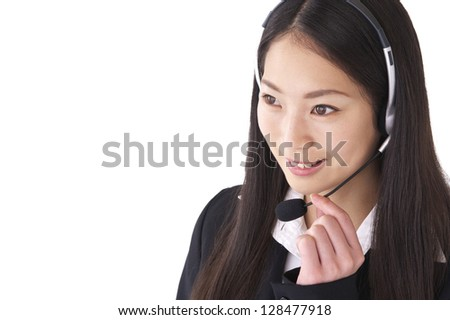 Operator wearing a headset