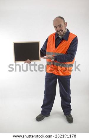 operator with blackboard - stock photo