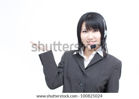operator woman showing copy space, isolated on white background - stock photo