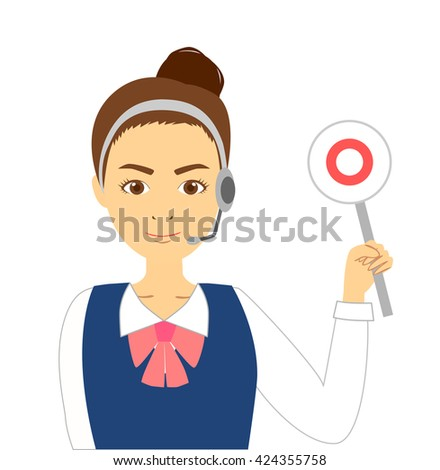 Operator woman showing the correct answer - stock photo