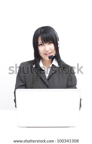 operator woman using laptop computer, isolated on white background - stock photo