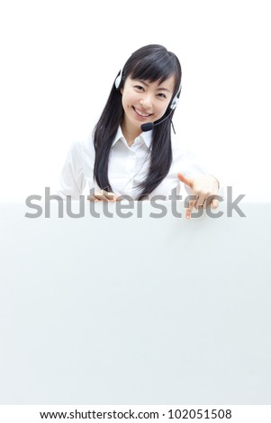operator woman with headset holding blank billboard, isolated on white background