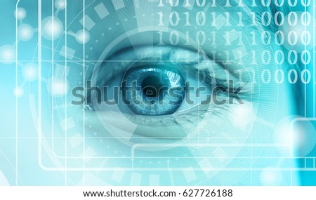 Ophthalmologist concept. Woman's eye, closeup