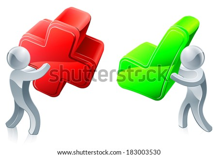 Opinion poll concept of people holding red cross and green tick - stock photo