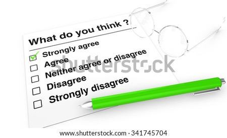 Opinion poll with checkboxes paper,pen and glasses - stock photo