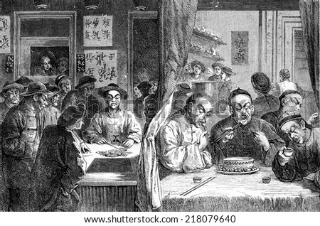 Opium smokers in China, vintage engraved illustration. Journal des Voyage, Travel Journal, (1880-81). - stock photo