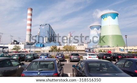 OPOLE, POLAND, September 14, 2015: The coal plant Opole in Brzezie near Opole, view from the parking lot - stock photo