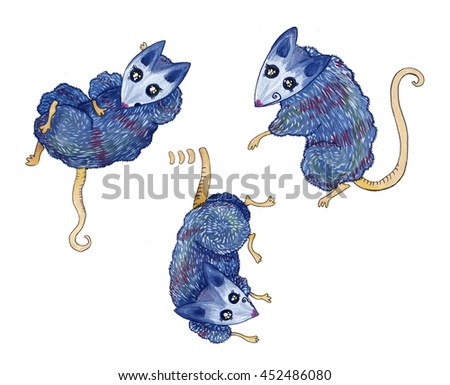 Opossum, mouse, rat, character blue - stock photo