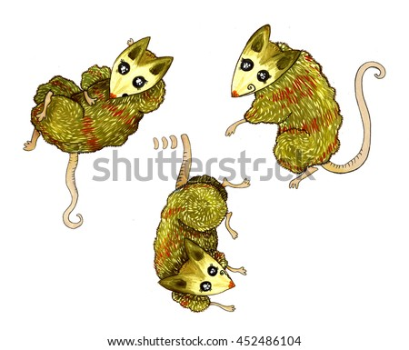 Opossum, mouse, rat, character red - stock photo