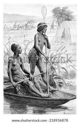 Opoudo and Capeo on a canoe, in Angola, Southern Africa, drawing by maillart based on the English edition, vintage illustration. Le Tour du Monde, Travel Journal, 1881 - stock photo