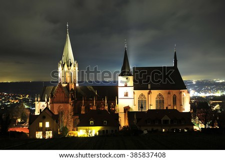 OPPENHEIM,GERMANY - MARCH 03: view of the Gothic Cathedral of St. Catherine on March 03, 2015 in Mainz, Germany.The St. Catherine's Church- is one of the most important Gothic churches on the Rhine.