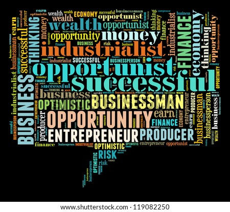 Opportunist info-colorful text graphic and arrangement concept on black background (word cloud) - stock photo
