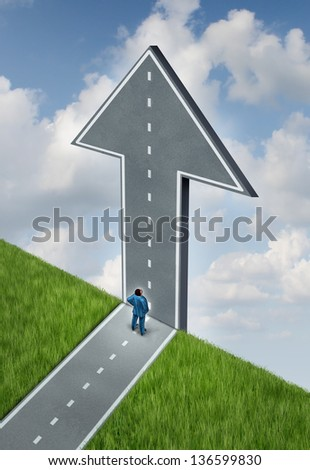 Opportunity and challenges as a concept of the sky is the limit with a road changing direction at a cliff going upward as an arrow of hope with a strategic thinking business man looking up, - stock photo