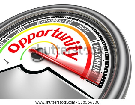 opportunity conceptual meter indicate maximum, isolated on white background - stock photo