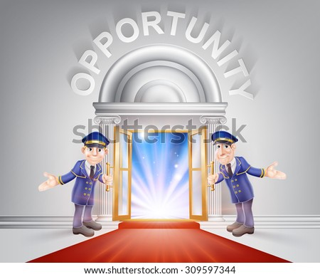 Opportunity Door concept of a doormen holding open a red carpet entrance to opportunity with light streaming through it. - stock photo