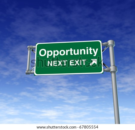 Opportunity Freeway Exit Sign highway street symbol green signage road symbol