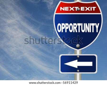 Opportunity road sign - stock photo