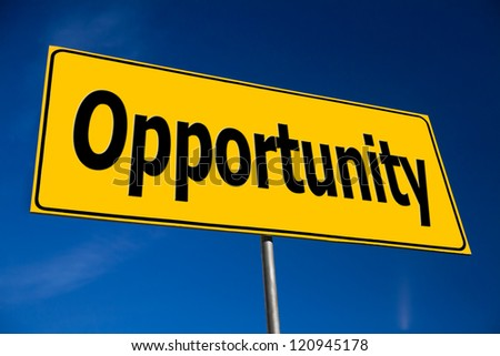Opportunity Road Sign. Blue Sky and Clouds. - stock photo