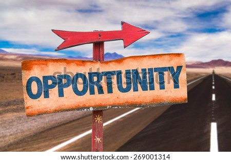 Opportunity sign with road background - stock photo
