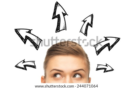 opportunity, solutions and people concept - close up of woman looking up to arrow doodles