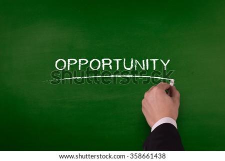 OPPORTUNITY word written by hand on blackboard - stock photo