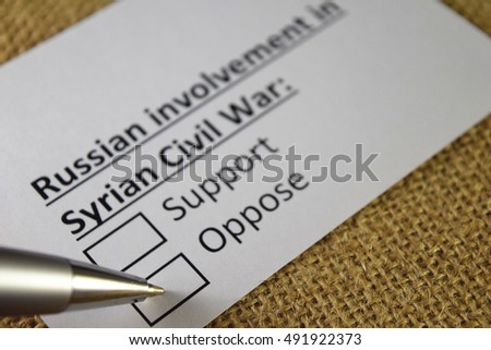 Oppose Russian involvement in syrian civil war