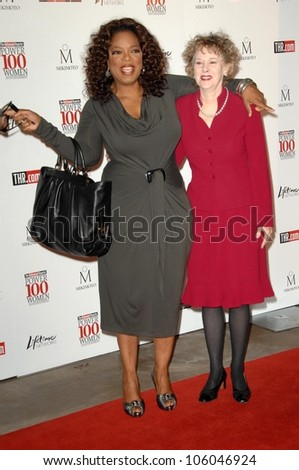 Oprah Winfrey and Elizabeth Guider   at The Hollywood Reporter's Annual Women In Entertainment Breakfast. Beverly Hills Hotel, Beverly Hills, CA. 12-05-08 - stock photo