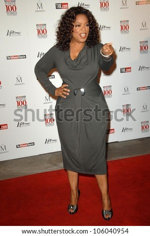 Oprah Winfrey   at The Hollywood Reporter's Annual Women In Entertainment Breakfast. Beverly Hills Hotel, Beverly Hills, CA. 12-05-08 - stock photo