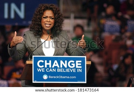 Oprah Winfrey attending Barack Obama Campaign Rally for Democratic Presidential Primary with Oprah Winfrey, The Verizon Wireless Arena, Manchester, NH, December 09, 2007 - stock photo
