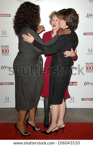 Oprah Winfrey with Elizabeth Guider and Anne Sweeney   at The Hollywood Reporter's Annual Women In Entertainment Breakfast. Beverly Hills Hotel, Beverly Hills, CA. 12-05-08 - stock photo