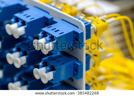 optical fiber information technology for transfer data - stock photo