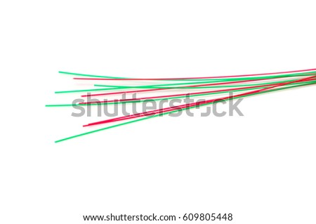 Optical fiber on a white background
