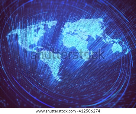 Optical fibers lit in the shape of the world map. 3D image concept of global communication by optical fiber. - stock photo