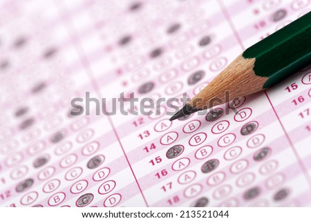 optical form of an examination with pencil - stock photo