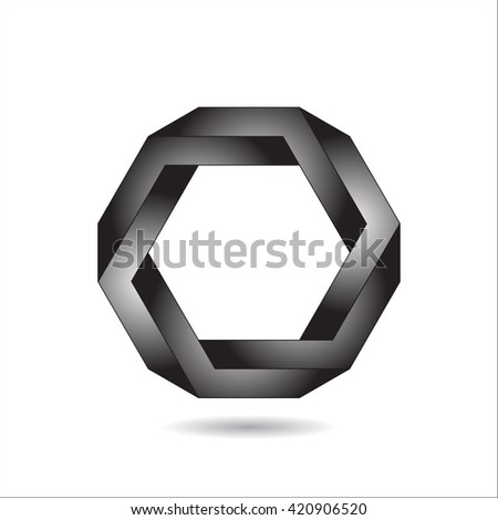 Optical illusion, abstract geometric design element, illusion symbols, Impossible sign.  - stock photo