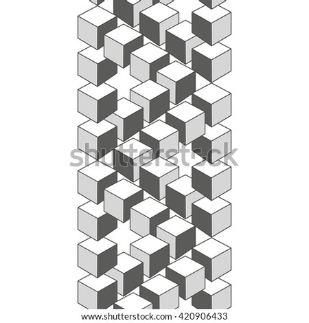 Optical illusion, abstract geometric design element. Printoptical illusion symbols, Impossible sign. Monochrome vector design