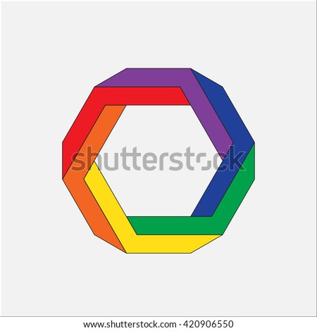 Optical illusion, abstract geometric design element. Printoptical illusion symbols, Impossible sign - stock photo