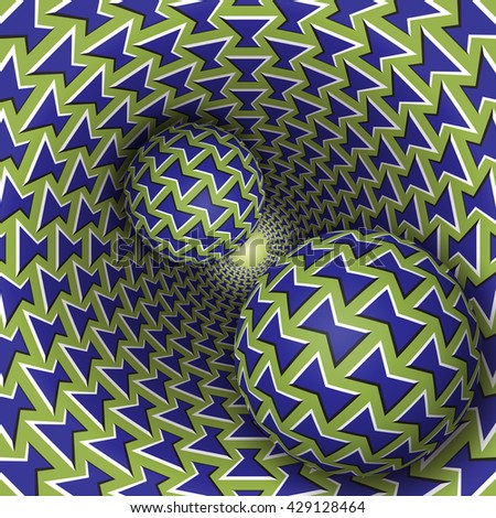 Optical illusion bitmap illustration. Two balls are moving on rotating funnel. Blue green bows pattern objects. Abstract fantasy in a surreal style. - stock photo