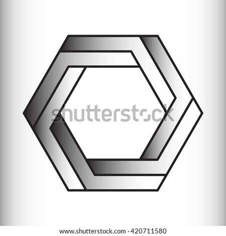 Optical illusion of the gradient, abstract geometric design element. Illusion symbols, Impossible sign  - stock photo