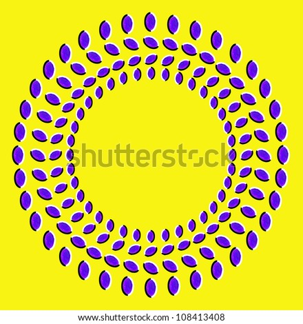 Optical illusion: rotation of circles made from dried fruits isolated on yellow background - stock photo